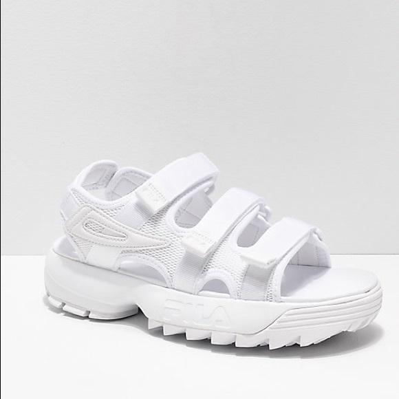 fila disruptor sandals white